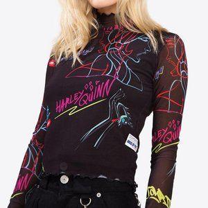 NWOT BIRDS OF PREY Harley Quinn Long Sleeve Top xs
